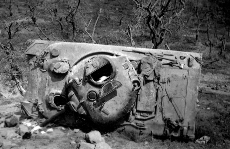Destroyed Sherman Tank